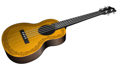 Ukulele with floral border