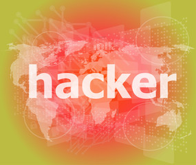 Privacy concept: words Hacker on digital background