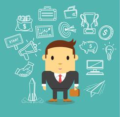Vector businessman flat icon set