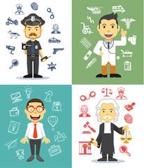 Professional men character. Vector flat illustration set