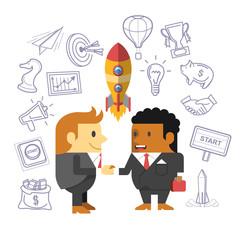Business people shaking hands. Start up flat vector illustration