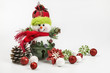 Snowman ornament with Christmas baubles on a white background