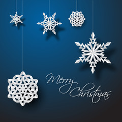 Vector white paper christmas snowflakes