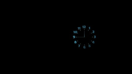 Clock shows 12. Luma matte. 60 fps