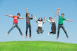 summer, holidays, vacation, happy people concept - group of frie
