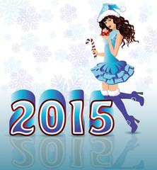 Happy New 2015 Year card with Santa girl, vector