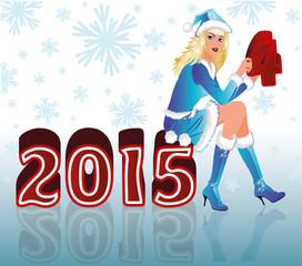 Happy New 2015 Year and Santa girl, vector