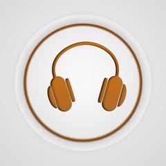 Headset circular icon on white background