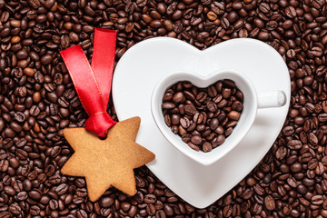 star shaped christmas cookies and coffee beans