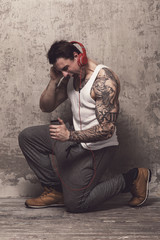 Man with tattoo