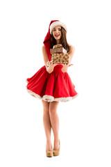 Christmas Santa woman sharing Christmas gifts