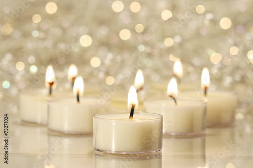 canvas print picture Group of tea lights for holiday celebrations