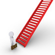 Businessman thinking about climbing staircase
