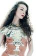 woman fashion brown silk summer sleeveless dress