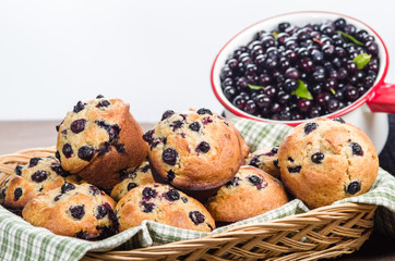 Warm berry muffins with huckleberries