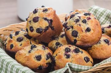Basket of freshly baked muffins