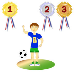 Set soccer player, athlete and medals, vector