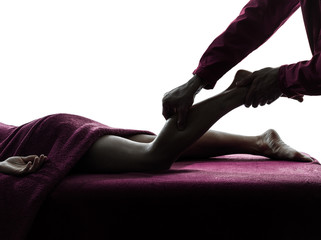 legs massage therapy silhouette