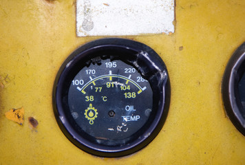 Dashboard of an old abandoned industrial vehicle