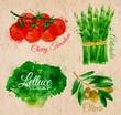 Zdjęcia na płótnie, fototapety, obrazy : Vegetables watercolor lettuce, cherry tomatoes, asparagus,