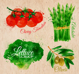 Vegetables watercolor lettuce, cherry tomatoes, asparagus,
