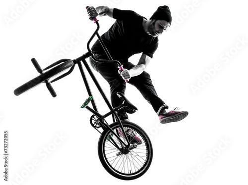 man bmx acrobatic figure silhouette - 73272055