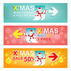 """Merry Christmas and New Year Sale banner.""""Xmas Sign"""" concept"""