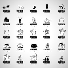 Clothes Icons Set - Isolated On Gray Background