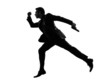 business man running silhouette