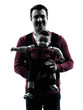 fathers parents with baby carrier  portrait silhouette