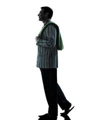 man  pajamas morning grooming  silhouettes