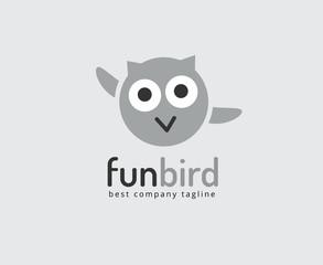 Abstract vector owl cute character logo icon concept.