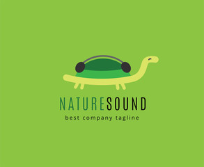 Abstract turtle with headphones vector logo icon concept