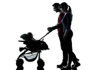 parents with baby silhouette