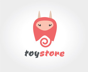 Abstract vector devil cute character logo icon concept.