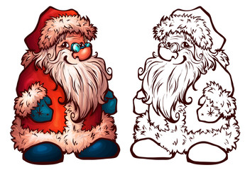Vector sketch of Santa Claus. Christmas illustration