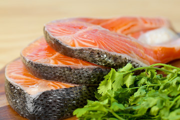 Delicious  portion of fresh salmon fillet with parsley