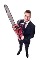 Red chain saw businessman