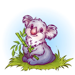 Vector illustration of koala in cartoon style