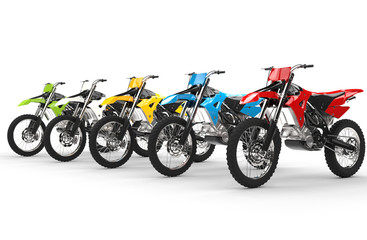 Row of motocross bikes isolated on white background