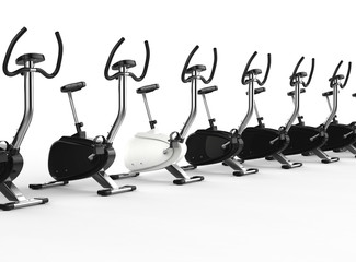 Row Of Stationary Bikes - one white