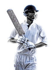 Cricket player  portrait silhouette