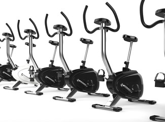 Row Of Stationary Bikes perspective shot.