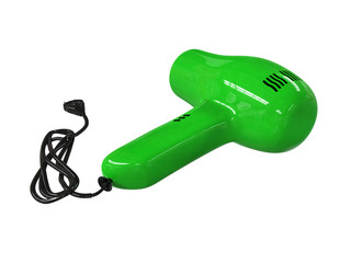 Small green hairdryer isolated on white background