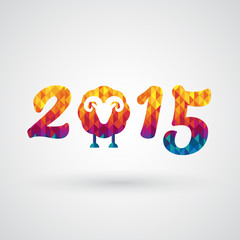 happy new year 2015 with goat symbol
