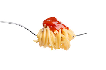 Fork with spaghetty and ketchup isolated on white background