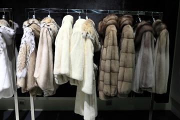 Fur coats on the hangers