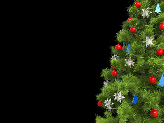 Closeup of christmas tree - isolated on black