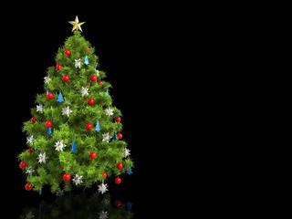 Colorful christmas tree - on black reflective surface