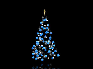Blue and silver christmas decorations - isolated on black
